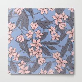 Sakura Branch Pattern - Rose Quartz + Serenity Metal Print