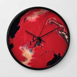 Pressure - Red, gold and black fluid acrylic abstract painting Wall Clock