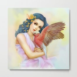 Blue haired elf and her galah Metal Print