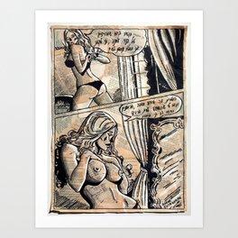 Erotic Sexy Comics | Nude French Woman Girl | Naked Art Print