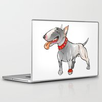 bull terrier Laptop & iPad Skins featuring Bull Terrier by Paola Canti