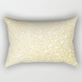 Hand painted modern faux gold white floral pattern Rectangular Pillow