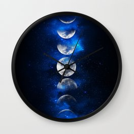 Phases of the Moon Blue Wall Clock