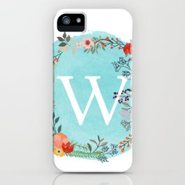 Personalized Monogram Initial Letter W Blue Watercolor Flower Wreath Artwork iPhone Case