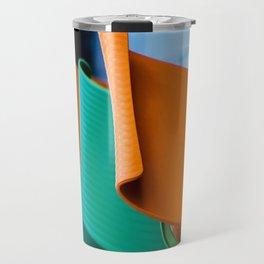 Blue Green and Orange Abstract Travel Mug
