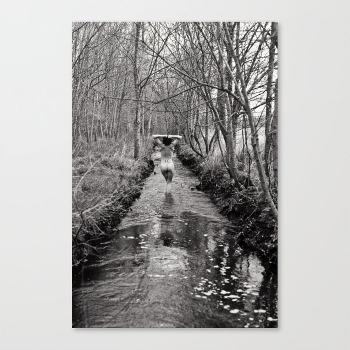 Down by the river erotic fine art black and white film photography canvas print