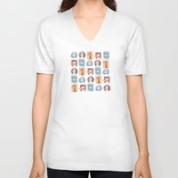 dogs V-neck T-shirts featuring Dogs by Milla Scramignon