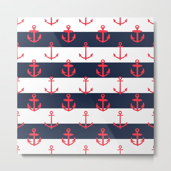 Red White and Blue Anchor Pattern Metal Print