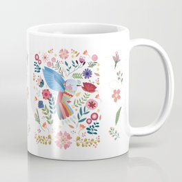 Folk Art Inspired Hummingbird In A Burst Of Springtime Blossoms Coffee Mug