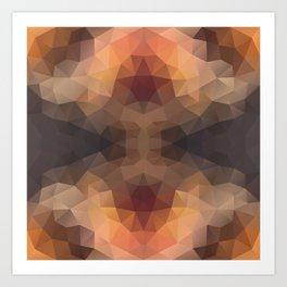 Kaleidoscopic design in soft brown colors Art Print