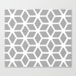 Geometric Line Lines Diamond Shape Tribal Ethnic Pattern Simple Simplistic Minimal Black and White Canvas Print