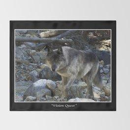 """""""Vision Quest""""  Wild Grey Wolf Throw Blanket"""
