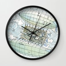 Flying over the montains Wall Clock