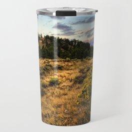 Wyoming Wildflowers Sunset Travel Mug