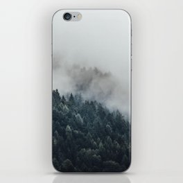 Misty Foggy Minimalist Landscape Photography Pine Forest iPhone Skin