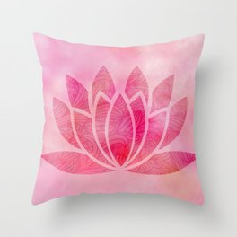 Zen Watercolor Lotus Flower Yoga Symbol Throw Pillow