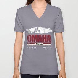 Omaha Hometown Cool City With GPS Coordinates Unisex V-Neck