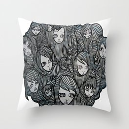 scalp sisters white bkgr Throw Pillow