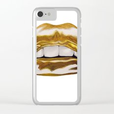 Golden Lips Clear iPhone Case
