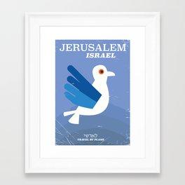 Jerusalem Israeli ישראל vintage travel poster Framed Art Print
