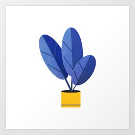 Deep Blue Potted Plant Watercolor Art Print