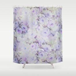 Vintage lavender gray botanical roses floral Shower Curtain