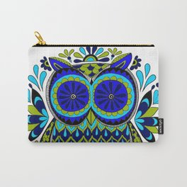 Blue Green Owl Mandala Carry-All Pouch