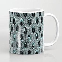 Watercolour Blackwork: 'Lozenge' Burnt Turquoise 1 (light) Coffee Mug