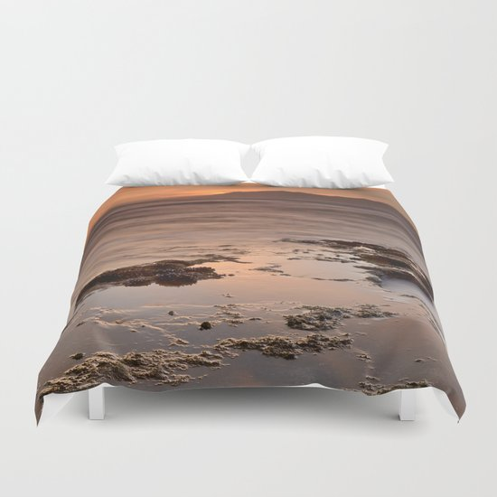 """Last red light"" Sunset at the sea Duvet Cover"