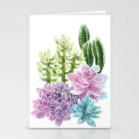 succulents Stationery Cards featuring Succulents by Megan Alcock