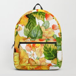 Yellow Hibiscus Tropical Continuous Floral Pattern Backpack