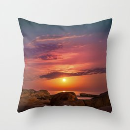 "Magical landscape with clouds and the moon going up in the sky in ""La Costa Brava, Spain"" Throw Pillow"