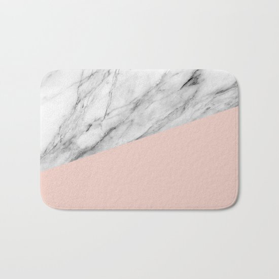Marble and pale dogwood color Bath Mat