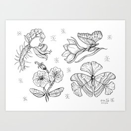 Resilience Tattoo Flash Set Art Print