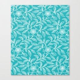 Aquamarine Lace Floral Canvas Print