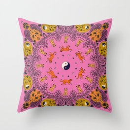 Cat Bandana - Pink Throw Pillow