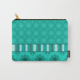 Peacock Green and White Abstract Mandala Tile Carry-All Pouch