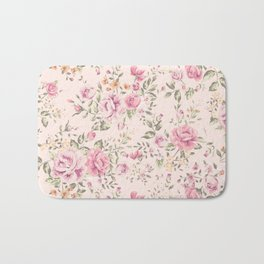 Shabby chic pastel pink roses Bath Mat