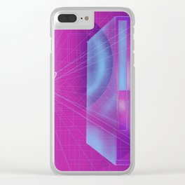 Geometric Abstract Minimal Oval Retro Perspective Clear iPhone Case