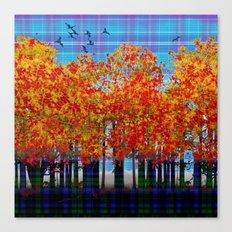 Fall Leaves On Plaid Canvas Print