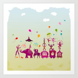 colorful circus carnival traveling in one row during daylight Art Print
