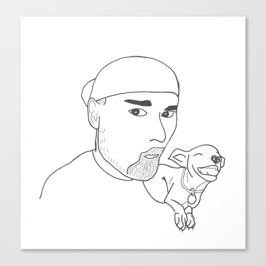 A boy and his dog. Canvas Print