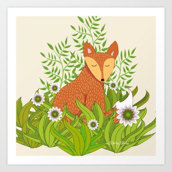 Fox in the Daisies Art Print