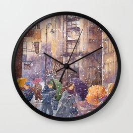 Winter watercolor illustration Wall Clock