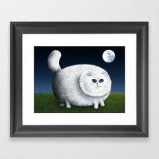 Fat Cat Looks at the Moon Framed Art Print
