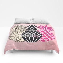 Pineapple in Pink , tropical , hawaii , summer , fruit , pineapple print , pineapple design Comforters