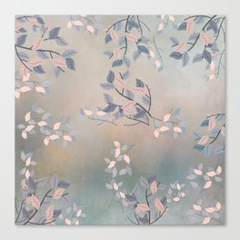 Blue Watercolor Woodland Leaves Canvas Print