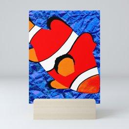 Clown Fish Hand drawn Screwed up paper Ocean Mini Art Print