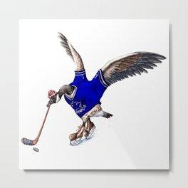 Canada Goose Playing Hockey Metal Print