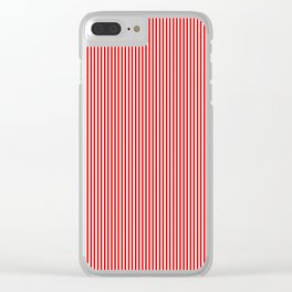 Mini Berry Red and White Rustic Vertical Pin Stripes Clear iPhone Case